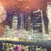 Вид на Москва-сити в дождливый вечер
