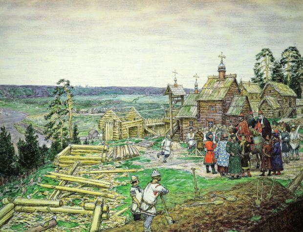 Аполинарий Васнецов. Строительство деревянной крепостной стены города времен Ивана Калиты